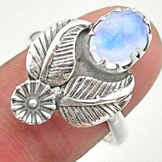 925 silver 3.38cts solitaire natural rainbow moonstone flower ring size 8 t25216