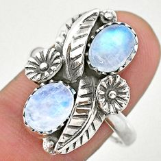 925 silver 4.71cts solitaire natural rainbow moonstone flower ring size 9 t25250