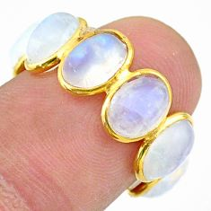 925 silver 8.57cts solitaire natural rainbow moonstone gold ring size 6 t31699