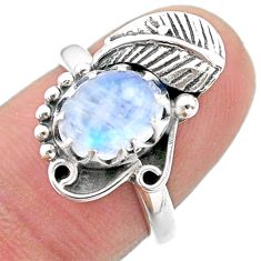 925 silver 3.14cts solitaire natural rainbow moonstone leaf ring size 7 t25174