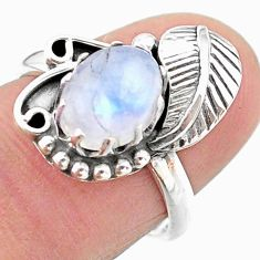 925 silver 3.14cts solitaire natural rainbow moonstone leaf ring size 7 t25180