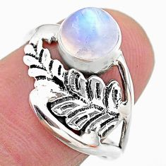 925 silver 2.29cts solitaire natural rainbow moonstone leaf ring size 7.5 t25118