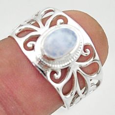 925 silver 1.57cts solitaire natural rainbow moonstone oval ring size 6.5 r40838