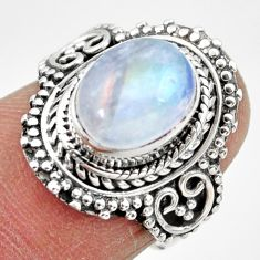 925 silver 4.19cts solitaire natural rainbow moonstone oval ring size 6.5 r49449