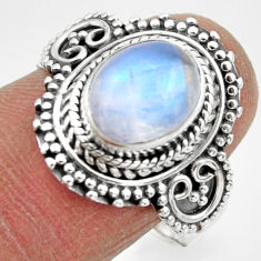 925 silver 4.44cts solitaire natural rainbow moonstone oval ring size 8.5 r49453