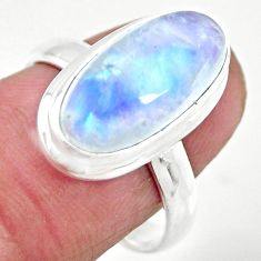 925 silver 6.36cts solitaire natural rainbow moonstone oval ring size 7.5 r51231