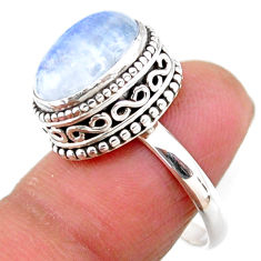 925 silver 5.30cts solitaire natural rainbow moonstone oval ring size 7.5 r51415