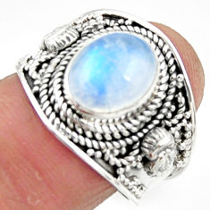 925 silver 4.38cts solitaire natural rainbow moonstone oval ring size 7.5 r51947