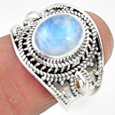 925 silver 4.38cts solitaire natural rainbow moonstone oval ring size 7.5 r51957
