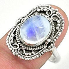 925 silver 5.15cts solitaire natural rainbow moonstone oval ring size 10 t39900