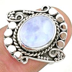925 silver 5.39cts solitaire natural rainbow moonstone oval ring size 6 t39960