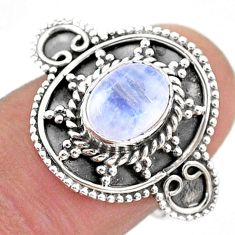 925 silver 1.91cts solitaire natural rainbow moonstone oval ring size 6 t43794
