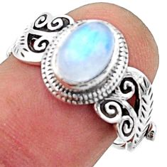 925 silver 2.12cts solitaire natural rainbow moonstone oval ring size 7 r40740