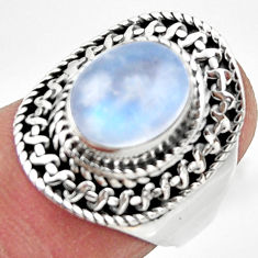 925 silver 4.19cts solitaire natural rainbow moonstone oval ring size 7 r49429