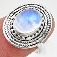 925 silver 4.23cts solitaire natural rainbow moonstone oval ring size 7 r49438