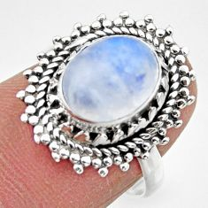 925 silver 4.08cts solitaire natural rainbow moonstone oval ring size 7 r49443