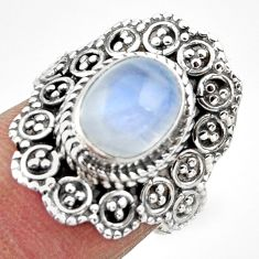925 silver 4.14cts solitaire natural rainbow moonstone oval ring size 7 r49460