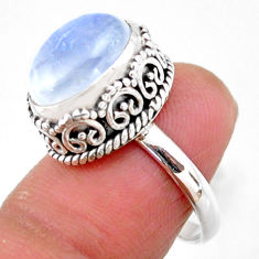 925 silver 5.28cts solitaire natural rainbow moonstone oval ring size 7 r51409