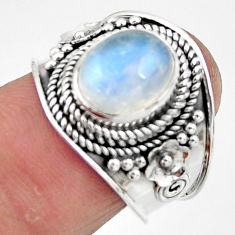 925 silver 4.21cts solitaire natural rainbow moonstone oval ring size 7 r51940