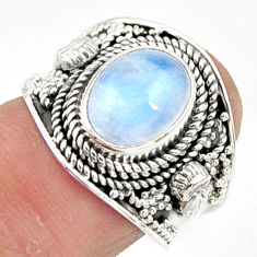 925 silver 4.38cts solitaire natural rainbow moonstone oval ring size 7 r51950