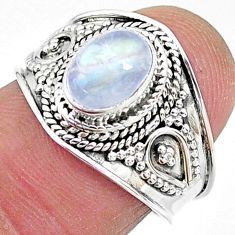 925 silver 2.05cts solitaire natural rainbow moonstone oval ring size 7 t10066