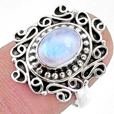 925 silver 2.11cts solitaire natural rainbow moonstone oval ring size 7 t15818