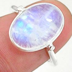 925 silver 5.89cts solitaire natural rainbow moonstone oval ring size 7 t34656