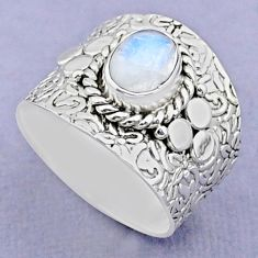 925 silver 1.87cts solitaire natural rainbow moonstone oval ring size 7 t37240