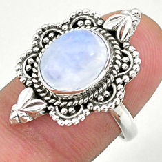 925 silver 5.11cts solitaire natural rainbow moonstone oval ring size 7 t39916