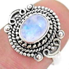 925 silver 2.21cts solitaire natural rainbow moonstone oval ring size 7 t43991