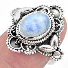 925 silver 4.38cts solitaire natural rainbow moonstone oval ring size 7 t46138