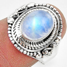 925 silver 4.11cts solitaire natural rainbow moonstone oval ring size 8 r49446