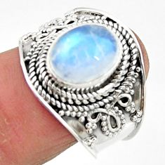 925 silver 4.38cts solitaire natural rainbow moonstone oval ring size 8 r51925