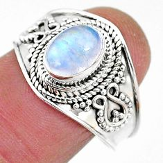 925 silver 2.08cts solitaire natural rainbow moonstone oval ring size 8 t10079