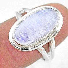 925 silver 6.58cts solitaire natural rainbow moonstone oval ring size 8 t12836