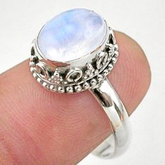 925 silver 4.08cts solitaire natural rainbow moonstone oval ring size 8 t27275