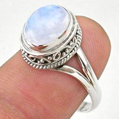925 silver 4.50cts solitaire natural rainbow moonstone oval ring size 8 t27298