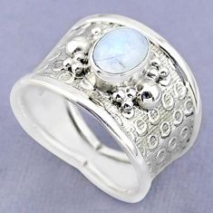 925 silver 2.01cts solitaire natural rainbow moonstone oval ring size 8 t37179