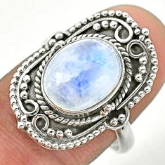 925 silver 5.63cts solitaire natural rainbow moonstone oval ring size 8 t39878