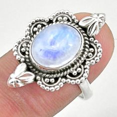 925 silver 5.08cts solitaire natural rainbow moonstone oval ring size 8 t39918