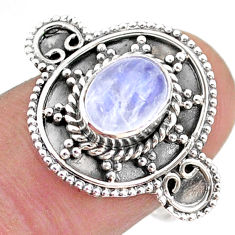 925 silver 2.17cts solitaire natural rainbow moonstone oval ring size 8 t43798