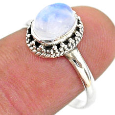 925 silver 2.01cts solitaire natural rainbow moonstone oval ring size 8 t43859