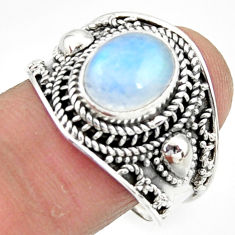 925 silver 4.71cts solitaire natural rainbow moonstone oval ring size 9 r51954