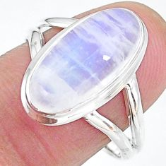 925 silver 7.30cts solitaire natural rainbow moonstone oval ring size 9 t12812