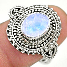 925 silver 3.14cts solitaire natural rainbow moonstone oval ring size 9 t20198