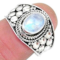 925 silver 1.96cts solitaire natural rainbow moonstone oval ring size 7.5 t10063