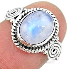 925 silver 4.34cts solitaire natural rainbow moonstone oval ring size 6.5 t15800