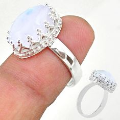 925 silver 6.47cts solitaire natural rainbow moonstone oval ring size 5.5 t20426