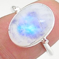 925 silver 6.19cts solitaire natural rainbow moonstone oval ring size 7.5 t34679
