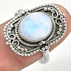 925 silver 5.62cts solitaire natural rainbow moonstone oval ring size 9.5 t39880